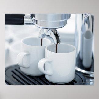 Espresso machine making coffee poster
