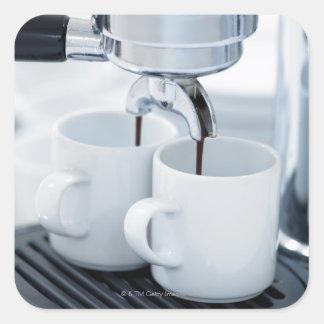 Espresso machine making coffee square sticker