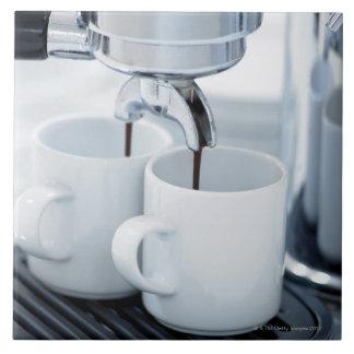 Espresso machine making coffee tile