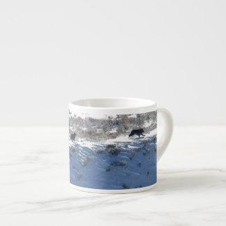 Espresso Mug - Yellowstone Lamar wolf pack run