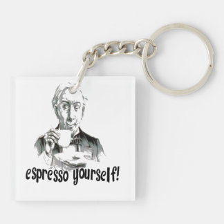 Espresso Yourself Double-Sided Square Acrylic Key Ring