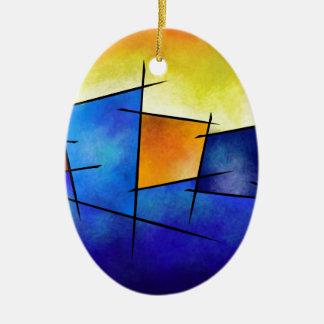 Esseniumos V1 - square abstract Ceramic Oval Decoration