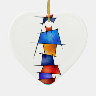 Esseniumos V1 - square abstract without back Ceramic Heart Decoration