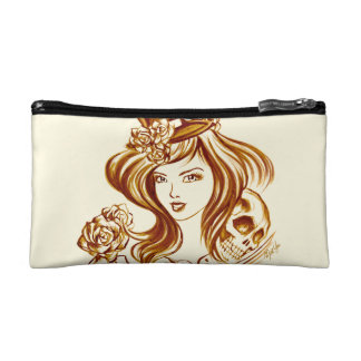 Essential 2 Sided Coffee Painting Satin Makeup Bag