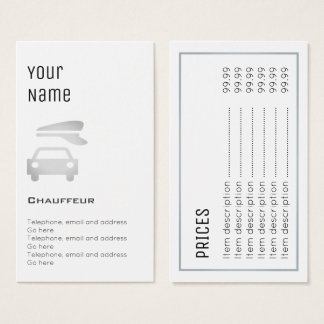 """""""Essential"""" Chauffeur Price Cards"""