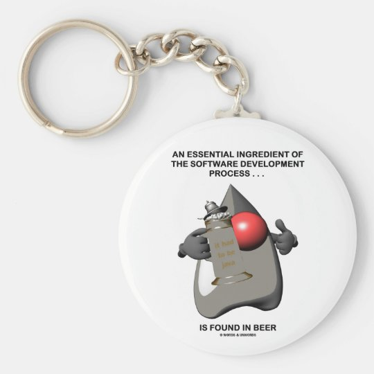 Essential Ingredient In Software Development Beer Basic Round Button Key Ring