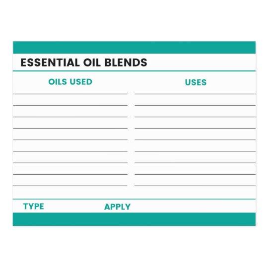 Essential Oil Recipe Card -Teal