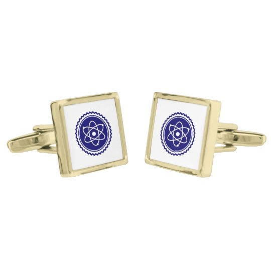 Essential Science Blue Atomic Badge Gold Finish Cufflinks