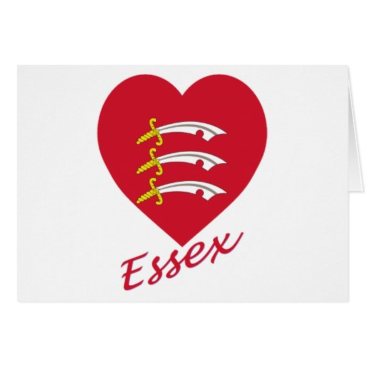 Essex Flag Heart with Name Greeting Cards