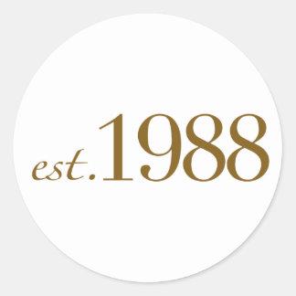 Est 1988 round sticker