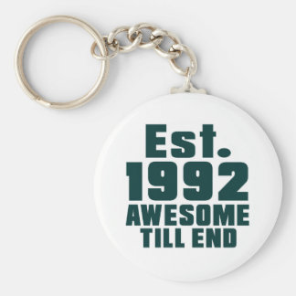 Est. 1992 awesome till end basic round button key ring