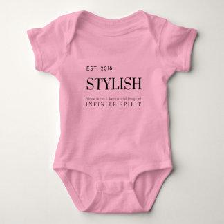 Est 2018 Stylish Baby Bodysuit (Black Print)
