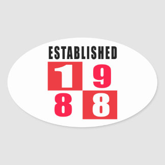 Established 1988 Birthday Designs Oval Stickers