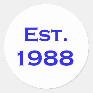 established 1988 round sticker