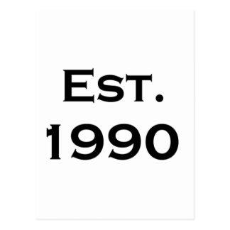 established 1990 postcard