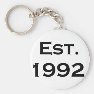 established 1992 basic round button key ring
