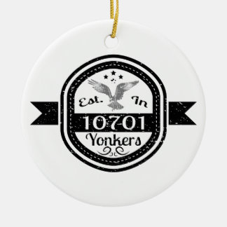 Established In 10701 Yonkers Christmas Ornament
