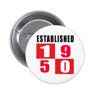 Established in 1950 6 cm round badge