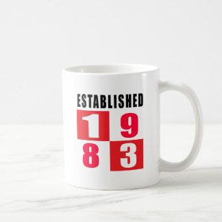 Established in 1983 coffee mug