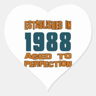 Established In 1988 Heart Sticker