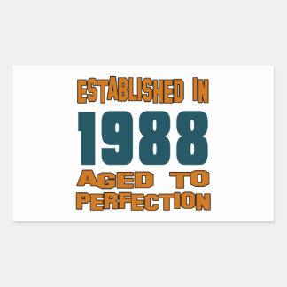 Established In 1988 Rectangular Sticker