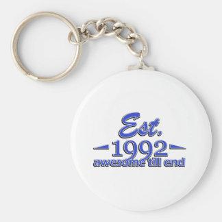 Established in 1992 birthday designs keychain