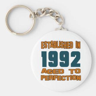 Established In 1992 Basic Round Button Key Ring