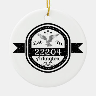 Established In 22204 Arlington Christmas Ornament