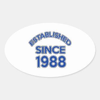 Established Since 1988 Oval Sticker