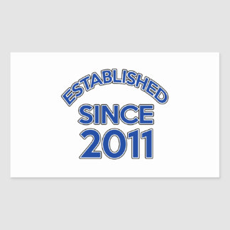 Established Since 2011 Rectangular Sticker