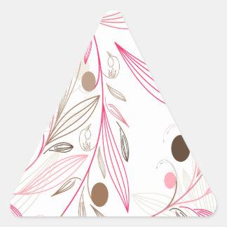 estampado floral flores y lineas rosadas marrones pegatinas de triangulo personalizadas
