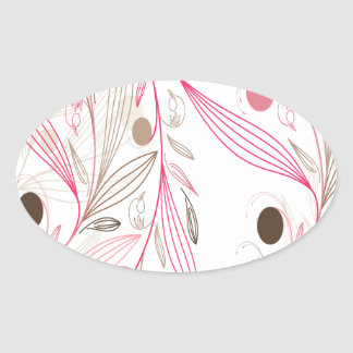 estampado floral flores y lineas rosadas marrones calcomanía oval personalizadas