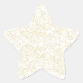 estampado floral flores y lineas rosadas suaves calcomanias forma de estrella