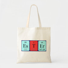 Bag featuring the name Ester spelled out in symbols of the chemical elements