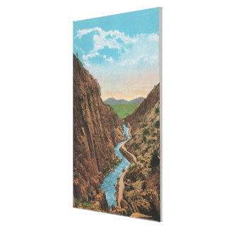 Estes Park, CO - View of Big Thompson Canon Gallery Wrapped Canvas