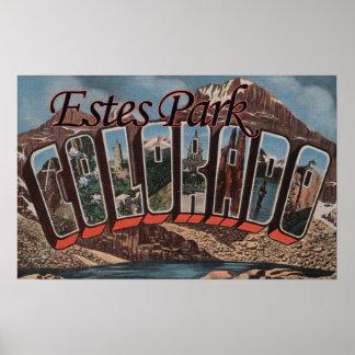 Estes Park, Colorado - Large Letter Scenes Poster