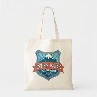 Estes Park Colorado teal shield tote bag