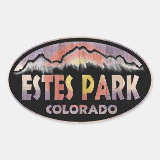 Estes Park Colorado wood flag oval stickers