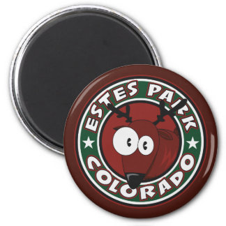Estes Park Elk Circle 6 Cm Round Magnet