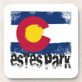 Estes Park Grunge Flag Beverage Coasters