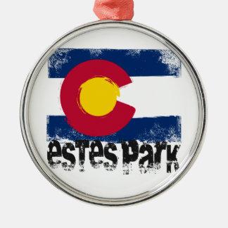 Estes Park Grunge Flag Silver-Colored Round Decoration