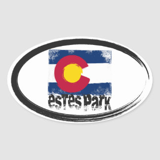 Estes Park Grunge Flag Oval Sticker