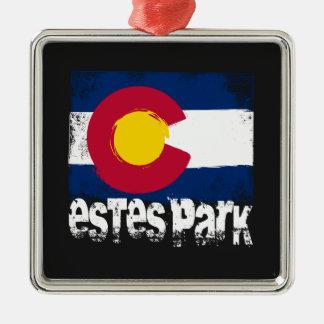 Estes Park Grunge Flag Silver-Colored Square Decoration