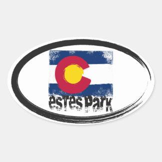 Estes Park Grunge Flag Oval Sticker