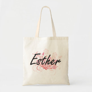Esther Artistic Name Design with Flowers Budget Tote Bag