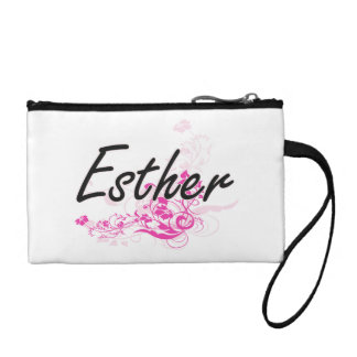 Esther Artistic Name Design with Flowers Change Purses