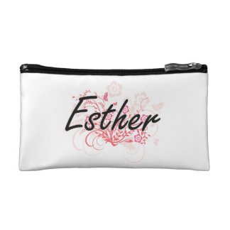 Esther Artistic Name Design with Flowers Cosmetic Bag