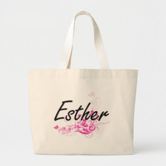 Esther Artistic Name Design with Flowers Jumbo Tote Bag