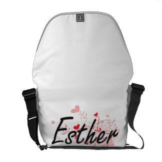 Esther Artistic Name Design with Hearts Courier Bags