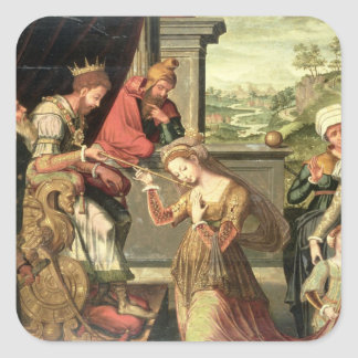 Esther before King Ahasuerus with Haman being sent Square Sticker